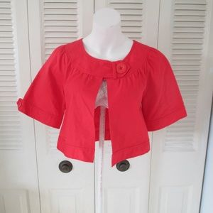 Beth Bowley Anthropolgie 4 Red Cropped Cape Coat